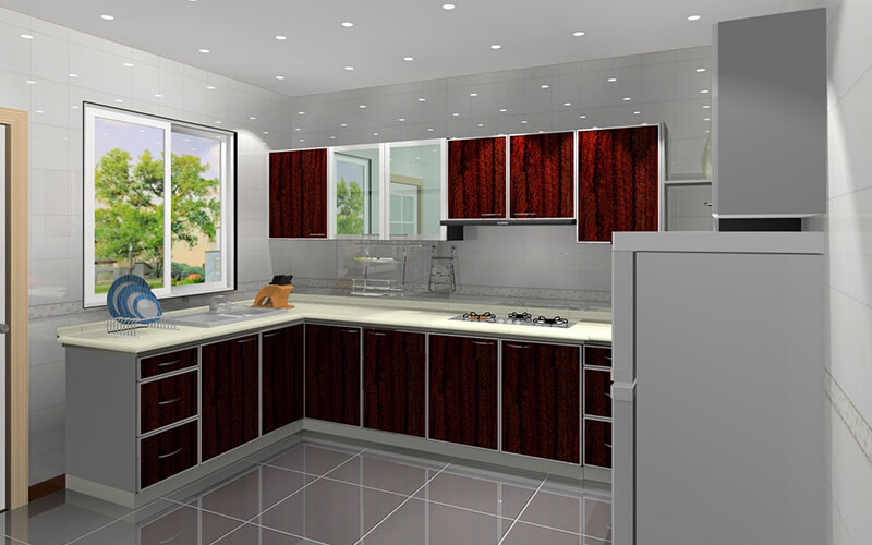 Red Kitchen White Cabinets